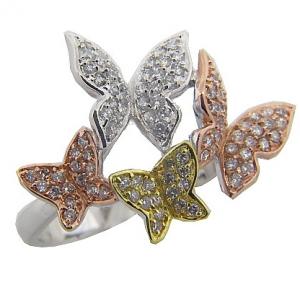 anillo mariposa pave tricolor rojo amarillo blanco cuerpo fino
