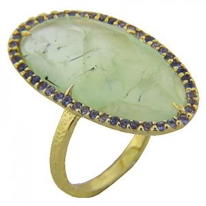 anillo piedra natural prehnita