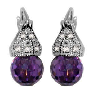 Par aros lady capricho cubic color violeta 8 mm