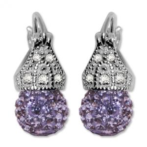Par aros Lady capricho shiny cristal  color violeta 8 mm