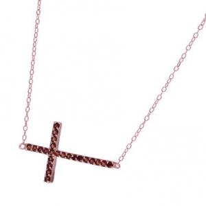 Conjunto cruz sobre cadena, Piedras rojas, rosado