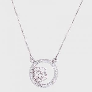 conjunto blanco,circulo con piedras rosa calada