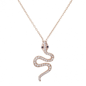 colgante serpiente corta ojos cubic azul enchapado rosado