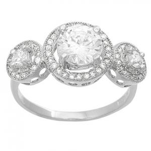 anillo con 3 piedras grandes grifas pavee alrededor