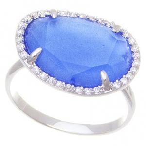 Anillo piedra azul amorfa borde pave