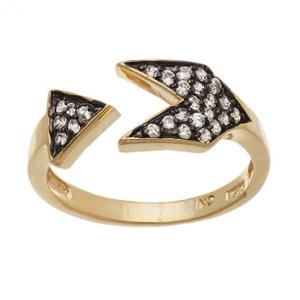 anillo triangulo pave rodio negro enchapado amarillo finito
