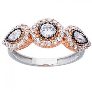 anillo tres centros con piedras enchapado rosado negro