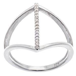 anillo plata abierto tira de piedras central