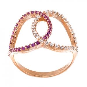 anillo gotas cruzadas calado rosado, piedras rosadas y blancas