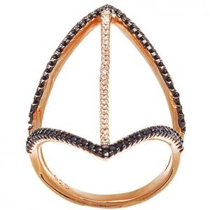 anillo dos tiras piedras negras rodio negro ,una tira central piedras blancas rosado