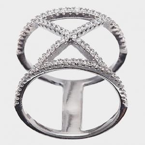 anillo tiras piedras cruz ancho blanco