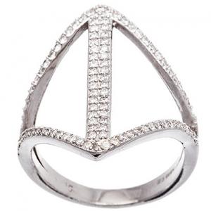anillo dos tiras piedras , una tira central doble con piedras