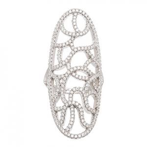 anillo alargado, calado, con piedras, blanco
