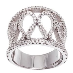anillo ancho calado con piedras, blanco