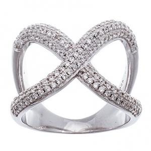 anillo cruzado abierto con piedras, blanco