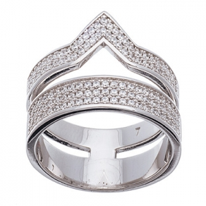 anillo ancho doble con piedras