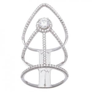 anillo abierto alargado piedra central blanca y piedras alrededor