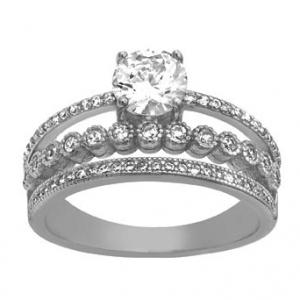 anillo solitario, triple medio sin fin , piedras, virola