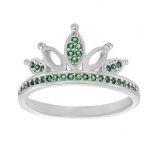 anillo corona piedras verdes, medio sin fin