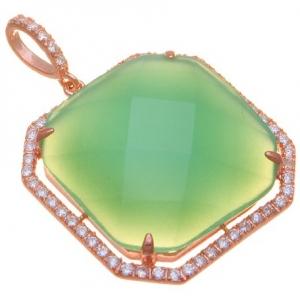 Colgante con piedra cuadrado octogonal verde lechosa, borde pavee 4 grifas enchapado rosado