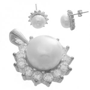 Aros y conjunto perla borde cubic engrifados, cadena groumet