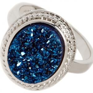 Anillo piedra rasposa azul ovalado
