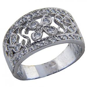 anillo platabella filigrana con piedras rodinado