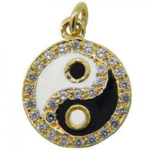 Colgante ying-yang con esmalte y piedras platabella enchapado amarillo