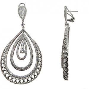 Par aros linea premium, colgantes, ovalados, formas de gotas una dentro de otra con piedras blancas, cierre pasante y clip