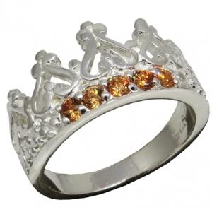 anillo corona piedras champagne
