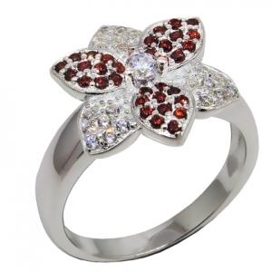 anillo flor con piedras blancas y rojas