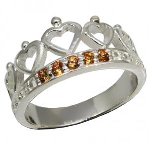 anillo coronita corazones piedras champagne