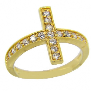 anillo cubic cruz grande amarillo