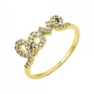 anillo love con piedras amarillo