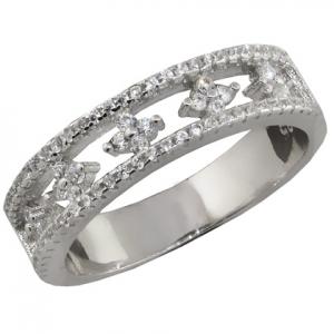 anillo medio sin fin calado, flores, piedras blancas