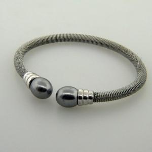 pulsera esclava oruga perla gris rodio blanco