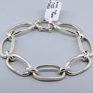 pulsera eslabones ovalados, lisos y rayados