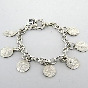 pulsera plata eslabones dijes colgantes santos