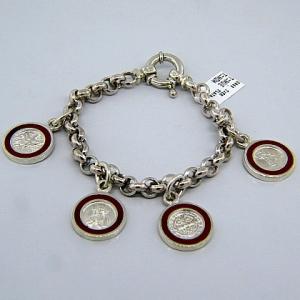 pulsera eslabones,colgantes religiosos,esmalte rojo ( san Jorge, san Benito, sagrado corazon, Espiritu Santo )