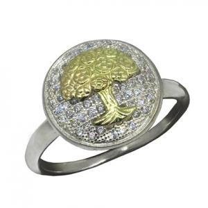 anillo redondo arbol de la vida enchapado, con piedras blancas