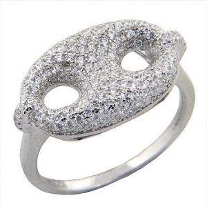 anillo ovalado con piedras, blanco