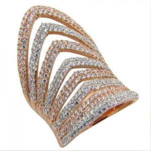 anillo alargado 8 filas de piedras rosado y blanco
