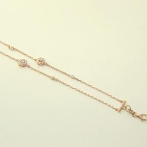 pulsera doble cadenita con piedras, rosada