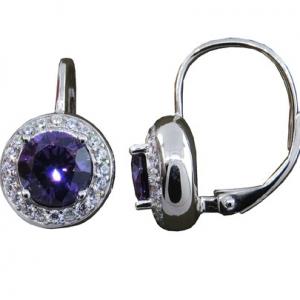 Par aros redondos piedra central violeta, y piedras blancas alrededor, cierre brisura