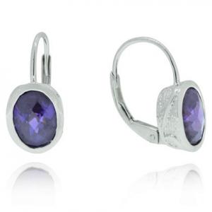 Par aros piedra ovalada violeta, detalles alrededor, cierre brisura