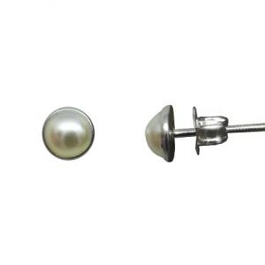 Par aros media perla pegados 5 mm