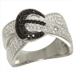 anillo ancho cinturon con piedras blancas y negras