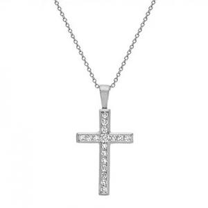 cruz con piedras blancas