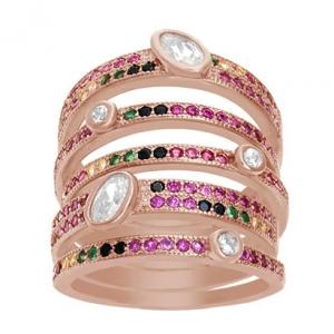 anillo ancho, 7 tiras, piedras multicolor, y piedras blancas rosado