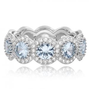 anillo sin fin piedras celestes, y blancas